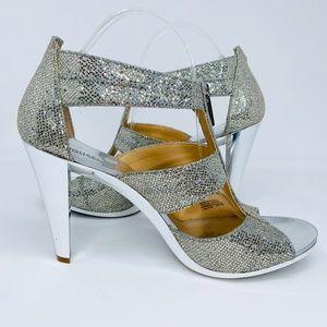 Michael Kors Silver Glitter Berkley T-Strap Heels